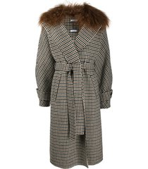 p.a.r.o.s.h. plaid belted coat - brown