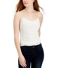 almost famous juniors' ruched mesh tank top
