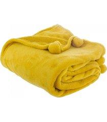 koc pled narzuta z pomponami yellow 125x150 cm