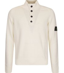 stone island high-neck button placket sweater