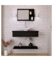 conjunto para banheiro bancada com prateleira e espelheira city 807 preto ônix
