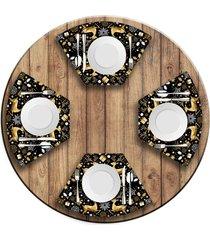 jogo americano   para mesa redonda wevans premium natal  love decor