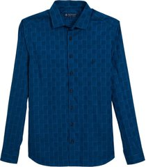camisa dudalina manga longa fio tinto maquinetado xadrez masculina (azul escuro, 7)