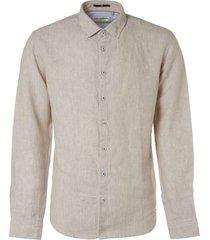 no excess shirt, l/sl, 2 col yarn dyed linen khaki