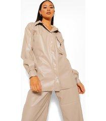 tall nepleren oversized pu blouse, ecru