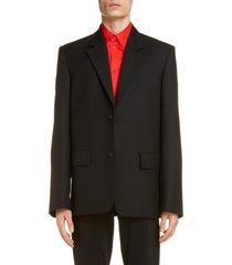men's balenciaga wool blazer, size 46 - black