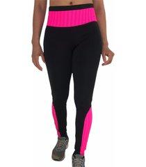 calça legging cintura alta recorte feminina preta multicolorido