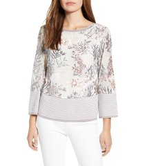 women's ming wang floral embroidery knit top