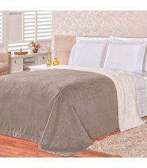 cobertor malmo cinza dupla face queen - tecido sherpa e manta microfibra - cinza - dafiti
