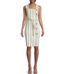 tommy hilfiger women's striped & button dress - sunshine - size 12
