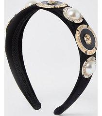 river island womens black lion head gold design headband