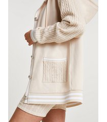 river island womens beige cable knit button down hoodie