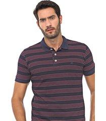 camisa polo polo wear reta jacquard azul-marinho/rosa