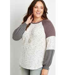 maurices plus size womens 24/7 gray colorblock blouson sleeve baseball tee