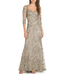 women's tadashi shoji corded embroidered lace gown, size 16 - grey