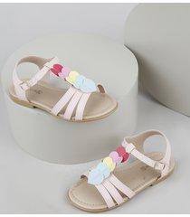 sandália infantil baby club com corações rosa