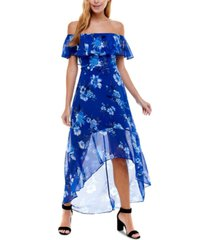 crystal doll juniors' off-the-shoulder maxi dress
