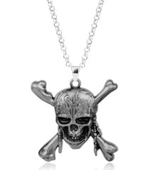 dije collar con cadena vintage skull hombres 721 plateado