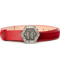 philipp plein quilted detail belt - red