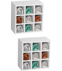 kit 2 nichos de parede porta toalha para salã£o 9 divisãµes branco - ajl mã³veis - branco - dafiti