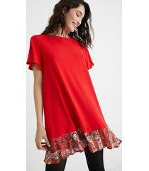 flared t-shirt dress flounced hem - red - xl