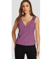 purple lace insert deep v neck fashion top