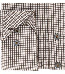 sleeve7 heren overhemd bruin allover ruitjes poplin modern fit
