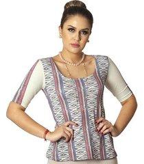 blusa ficalinda meia manga estampa étnica tribal decote redondo evasê feminina