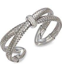 18k white gold, diamond & ruby cuff bracelet