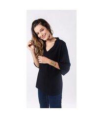 blusa luz e sombra manga longa lisa preto montreal
