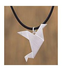 sterling silver pendant necklace, 'flying origami dove' (mexico)