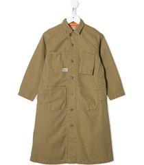 denim dungaree multi-pocket longsleeved dress - brown