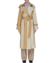 belted colourblock panel trench coat