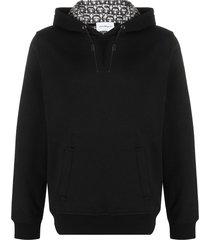 salvatore ferragamo leather-drawcord hooded sweatshirt - black