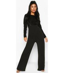 petite mesh top wide leg jumpsuit, black