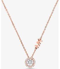 mk collana con aureola e pavé in argento sterling placcato in metallo prezioso - oro rosa (oro rosa) - michael kors