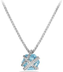 david yurman cable wrap pendant necklace with diamonds, size 17 in in blue topaz at nordstrom