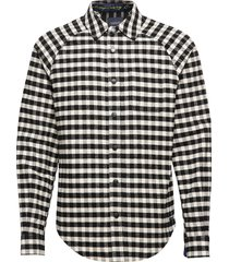 long sleeve flannel check shirt with cut and sew overhemd casual zwart scotch & soda