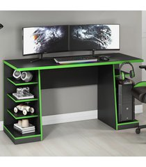 mesa gamer legend ideal para 2 monitores preto/verde - notavel