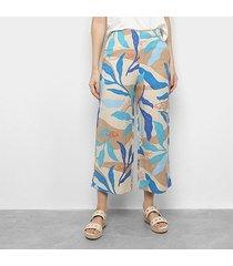 calça cantão pantacourt estampada feminina
