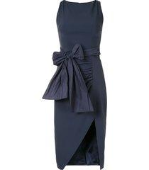 elisabetta franchi bow and slit pencil dress - blue
