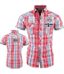 geographical norway heren korte mouw overhemd borstzak geblokt zootopia - rood