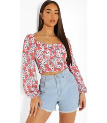 floral ruched bust long sleeve blouse, pink