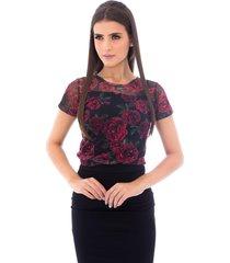 blusa moda vicio manga curta floral preto