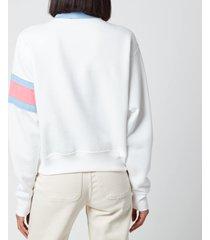 polo ralph lauren women's half zip logo sweatshirt - white/chambray blue - l
