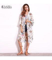 zanzea retro 2018 de bohemia kimono cardigan camisas mujeres flojas de tres cuartos blusas de gasa verano ocasional ropa de playa tops blusas blanca -blanco