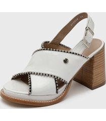 sandalia cuero blanco zappa