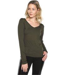 blusa manga larga verde musgo natural basic