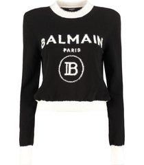 balmain logo crew-neck pullover
