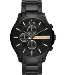 ax armani exchange men's chronograph hampton black stainless steel bracelet watch 46mm